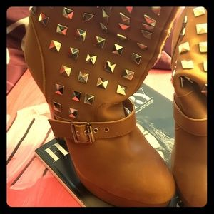 N.Y.L.A Apollo leather upper tan studded boots